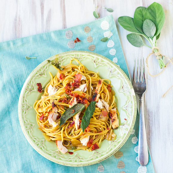 Chicken Saltimbocca Spaghetti