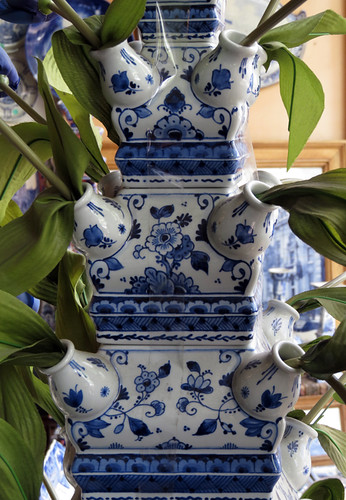 Delft Blue Tulip Holder in an Antique Store in Amsterdam, Holland