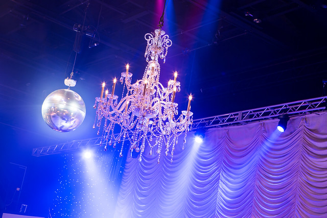 Disco ball and Austrian Drape
