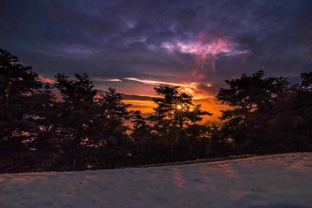 Winter sunset on the mountain