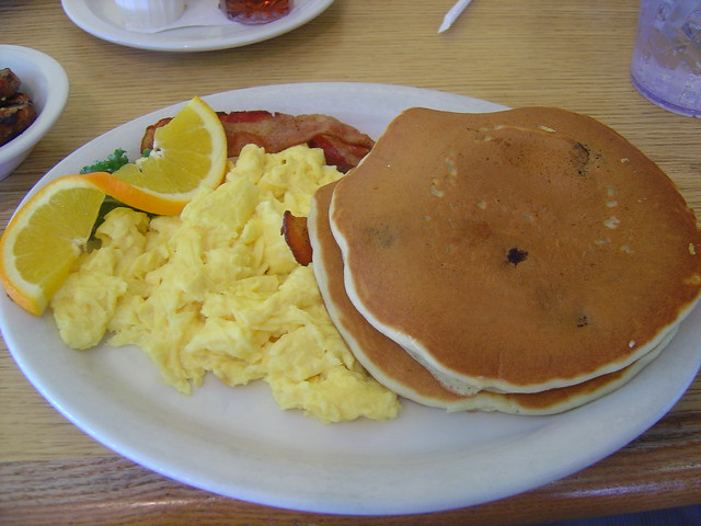 Scrambled eggs, blueberry pancakes, and bacon | My ...