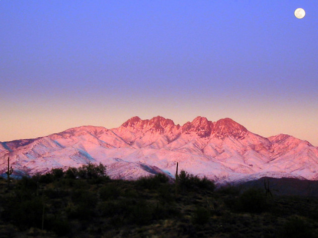 Snowy Four Peaks Moonrise, Canon POWERSHOT A10