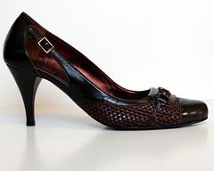 heel(0.0), outdoor shoe(0.0), textile(0.0), limb(0.0), leg(0.0), human body(0.0), basic pump(1.0), brown(1.0), footwear(1.0), shoe(1.0), high-heeled footwear(1.0), maroon(1.0), leather(1.0),