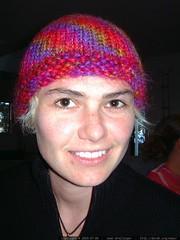 rachel wearing a hat that she knit   dscf5766
