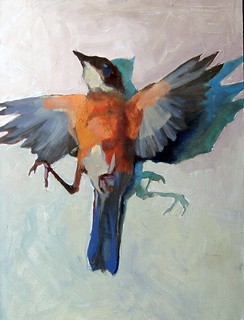dead robin-oil on masonite