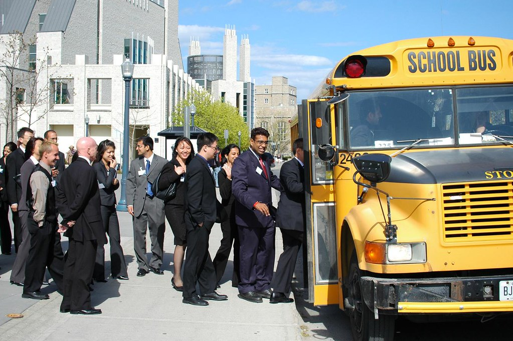 MBA students on Yellow School bus