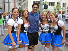 Mike with chicks dressed up as Dutch girls