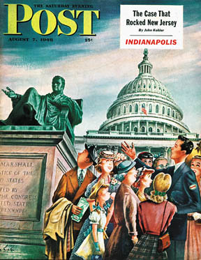Tourists in Washington, Constantin Alajalov, Saturday Evening Post, 8/7/1948