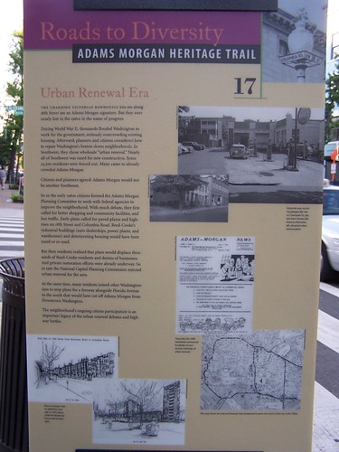 Urban renewal, Adams-Morgan Heritage Trail Sign