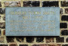 Photo of Herbert Tyson Smith stone plaque