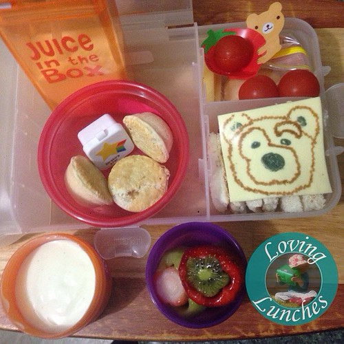 Loving a little #LittleCharleyBear in Honey's @nudefoodmovers for tomorrow… milk in our #juiceinthebox from @boardwalkimports   Mini pies with sauce. Cheese tomatoes and crackers. Charley #cheesart on a jam sandwich. Strawberry Kiwi flowers. Yoghurt. #ilo