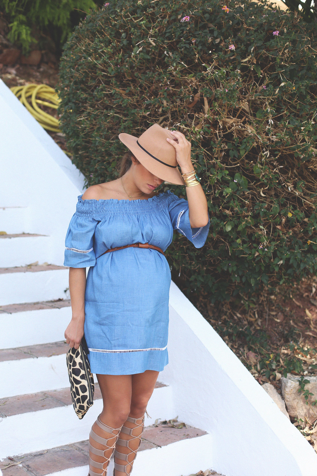 11. off shoulders denim dress - jessie chanes - pregnancy