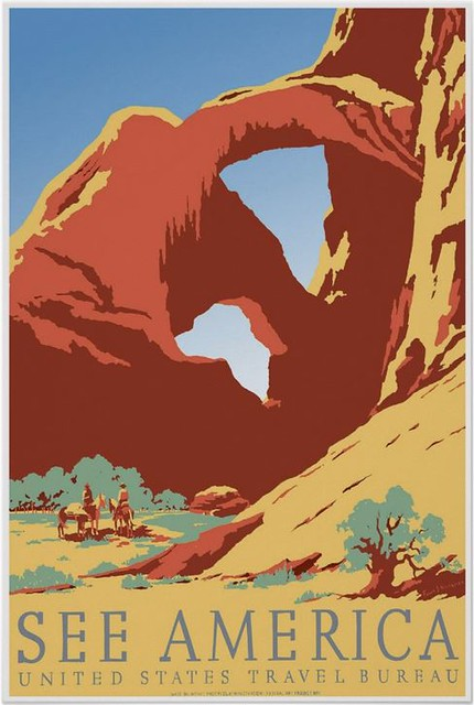 See America Poster by Frank S. Nicholson, Works Progress Administration Federal Art Project,  Image is similar to Double Arch in Arches National Park.