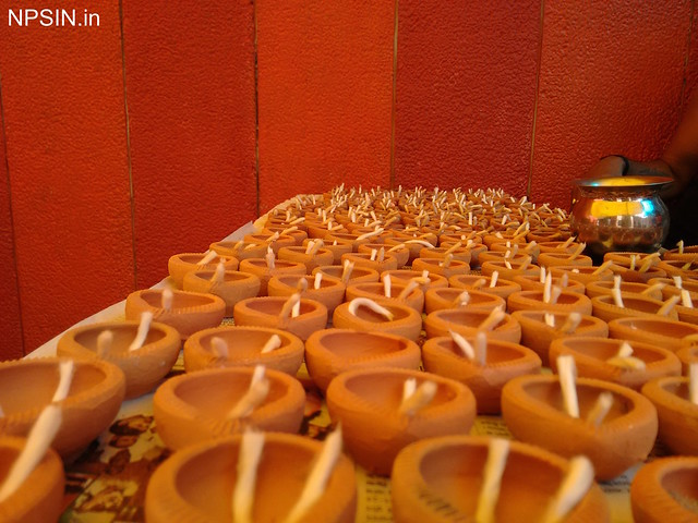 Traditional disposal mitti deepak (clay lamp) are ready to offering Aarti