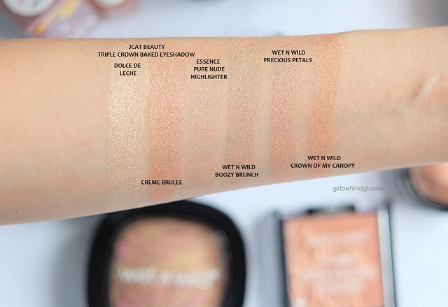 Drugstore highlighters swatches