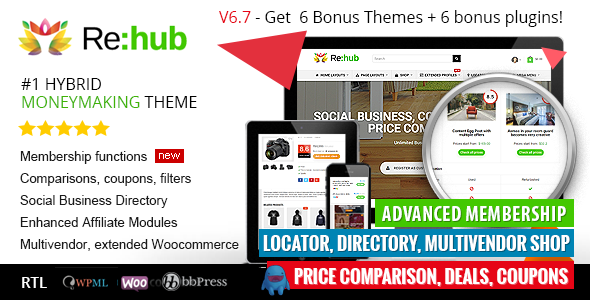 REHub v6.7.4 – Price Comparison, Business Community, Multi Vendor, Directory Theme
