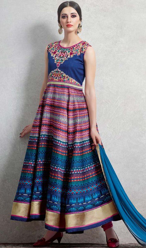Blue Color Shaded Satin Printed Long Anarkali Suit