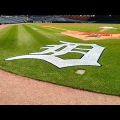 July 4, 2015 - 16:43 - On the field at Comerica Park. The rules are the same at every ballpark: do not step on the grass! #detroit #tigers #ballpark #tour #baseball #beisbol #sports #park #fun