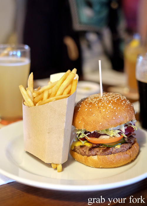 The Lord's Burger with fries at the Lord Gladstone, Chippendale