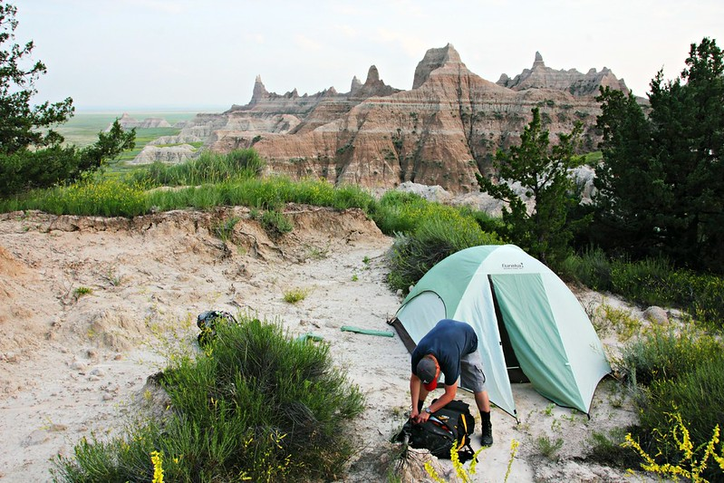 Telttailu, Badlands National Park
