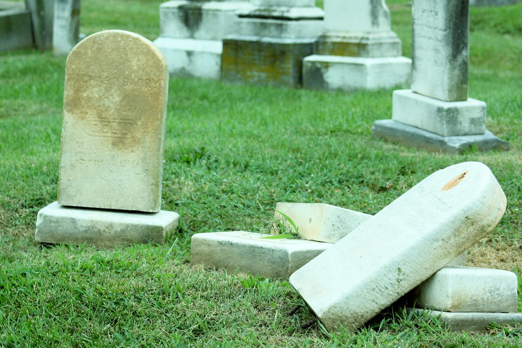Congressional Cemetary toppled headstones
