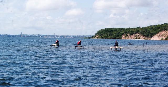 Olhar do leitor. Foto: Anselmo Colares. Pescadores na praia de Maria José, em Santarém