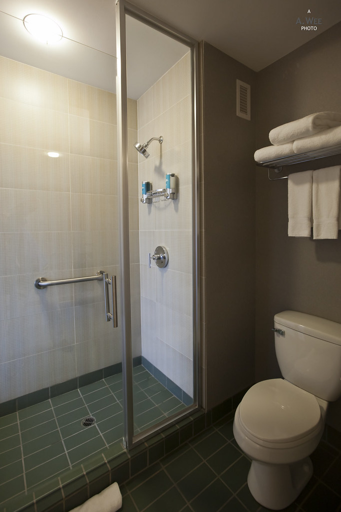 Walk-in shower and toilet