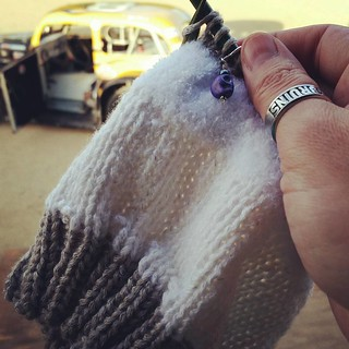 I love the that this fun #yarn not only changes colors, but textures too! #TopThis #puppy hat #racetrackknitting #knitstagram #instaknit #getyourkniton #handknit #childshat #uslegendscars #8 #HooliganMotorsports #knittersofinstagram #racecar