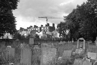 Image of Tower Hamlets Cemetery Park. london tower cemetery construction crane graves hamlets