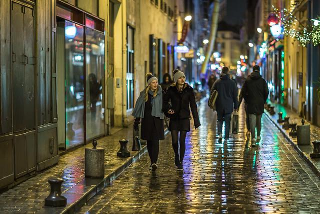 Rue de Lappe at night, Paris, France