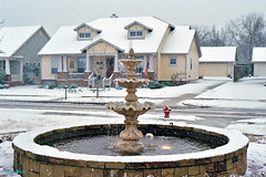 Fountain in Snowstorm, North Richland Hills, 2008