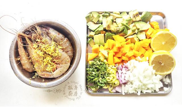 孤身廚房-墨西哥烤紅爐蝦酪梨芒果莎莎醬塔可(下)-烤紅爐蝦酪梨芒果莎莎醬3