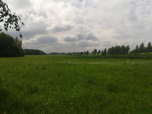 green clouds meadow bluesky