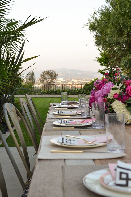 Outdoor dinner party table and place settings.