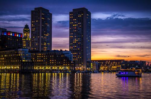 ocean new blue sunset red england white boston skyline skyscraper boats harbor massachusetts 4th july atlantic