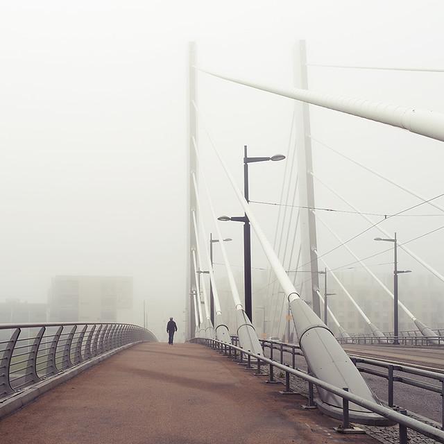 Through the foggy city