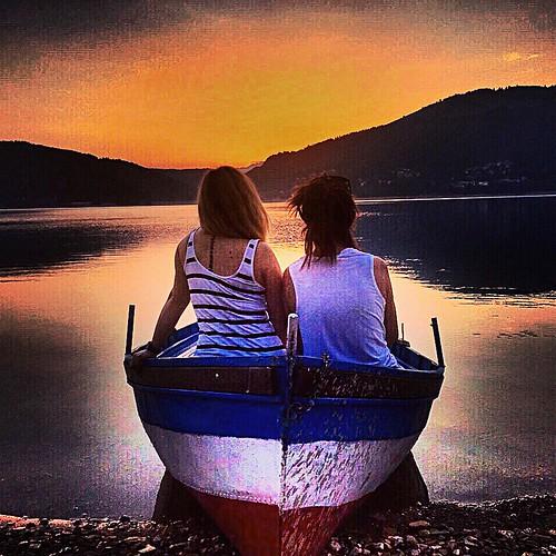 friends lake boat sunsets macedonia mavrovo