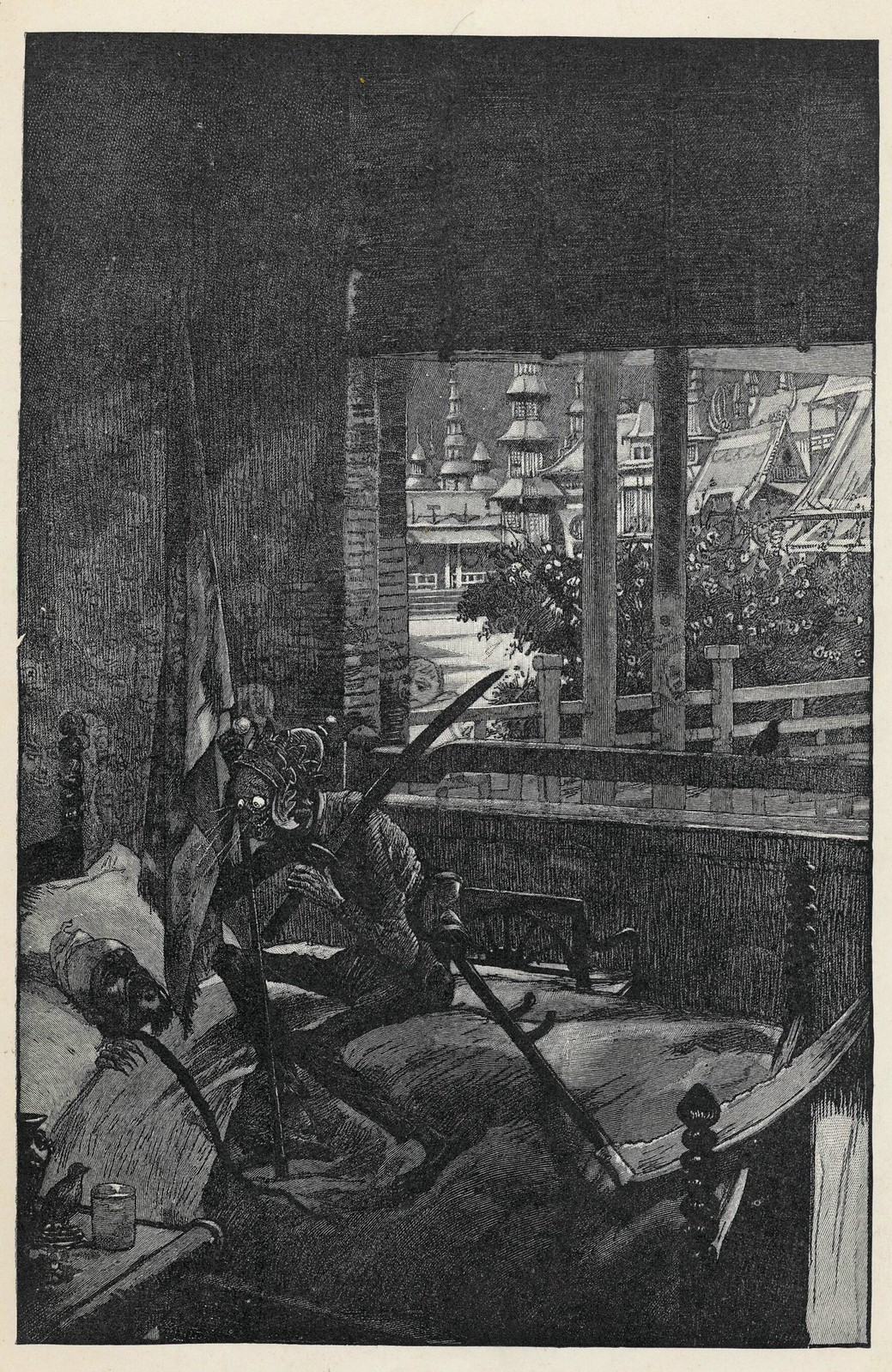 """Hans Tegner - """"The emperor felt as if some one was sitting on his chest. He opened his eyes, and then he saw it was Death."""" from Fairy tales and stories, by Hans Christian Andersen, New York, 1900"""