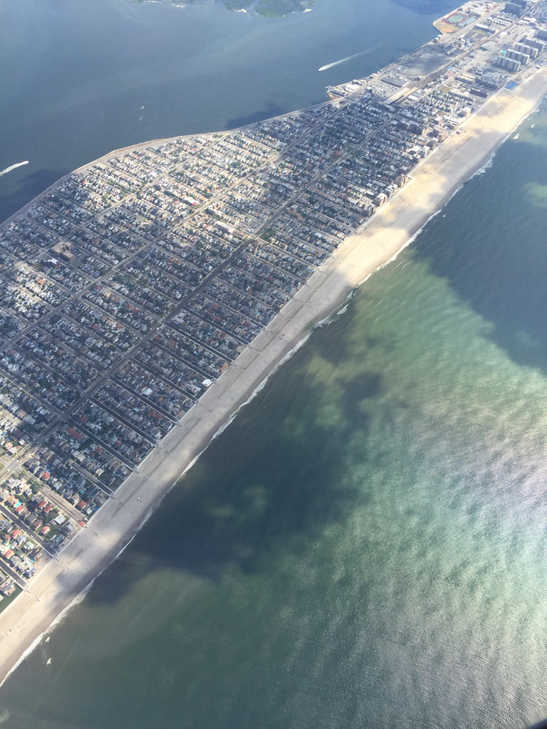 View of beach from airplane | JFK takeoff