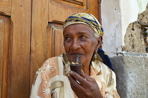 The Woman with the pipe, Mindelo, Sao Vicente, Cape Verde