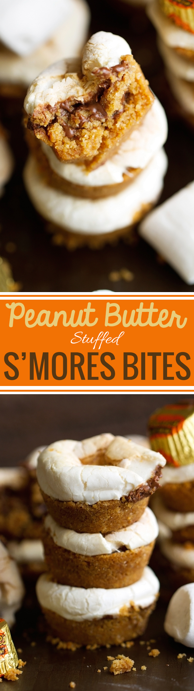5 Ingredient Peanut Butter Stuffed S'mores Bites - These contain a peanut butter cup in the center and are so delish! #smoresbites #smores #peanutbutter #peanutbuttercups   Littlespicejar.com
