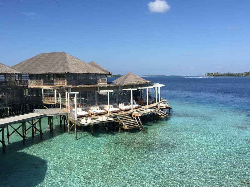 Overwater village in Six Senses Laamu Maldives.