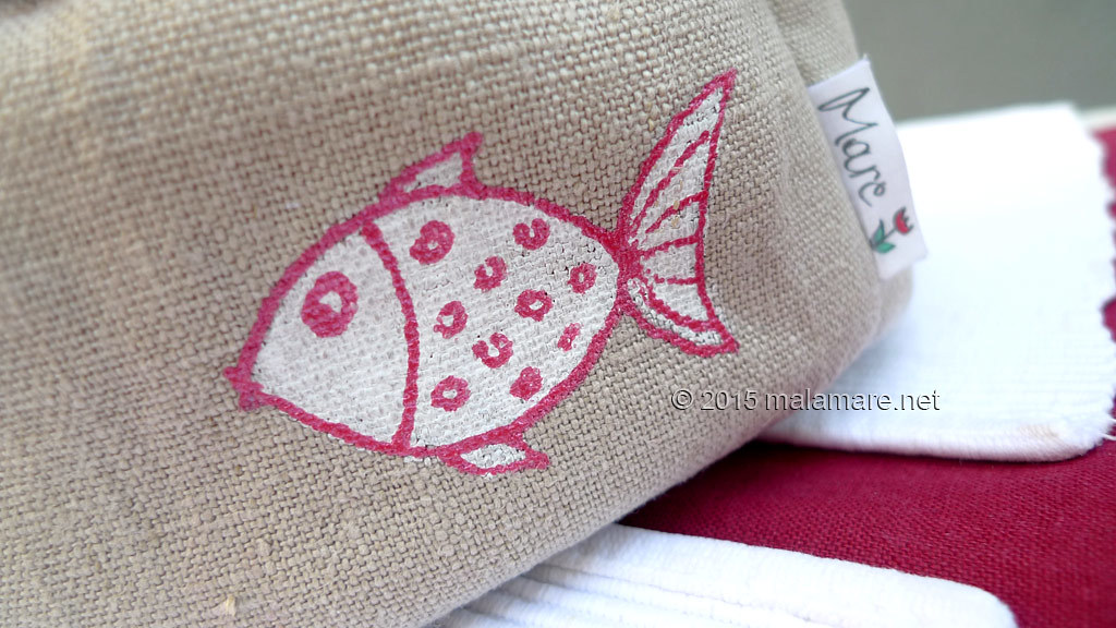 Handmade linen bread basket natural colour