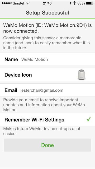 WeMo iOS App - Motion Setup Done