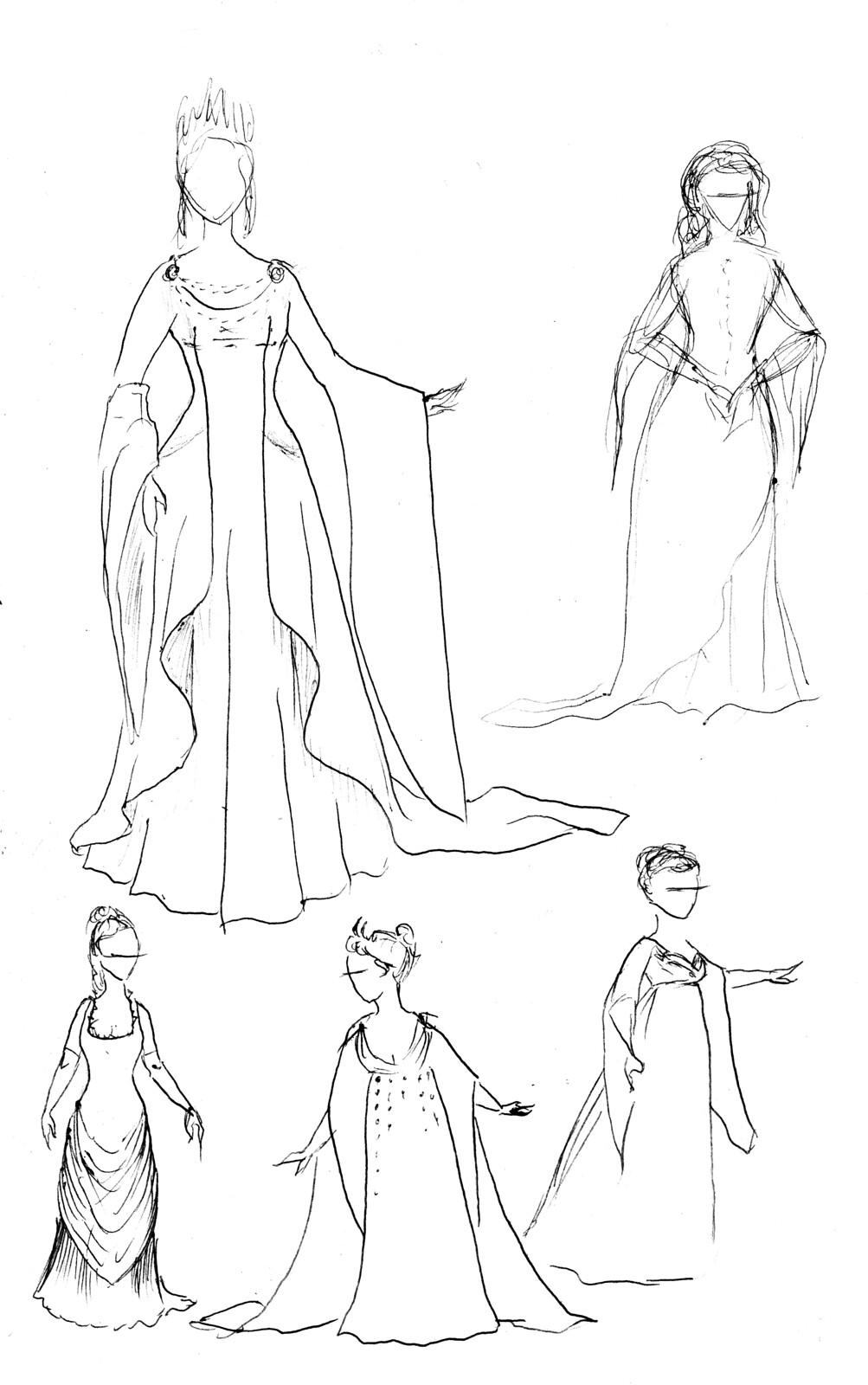 Robes de mariée, collection Green Martha 2016, recherches préparatoires