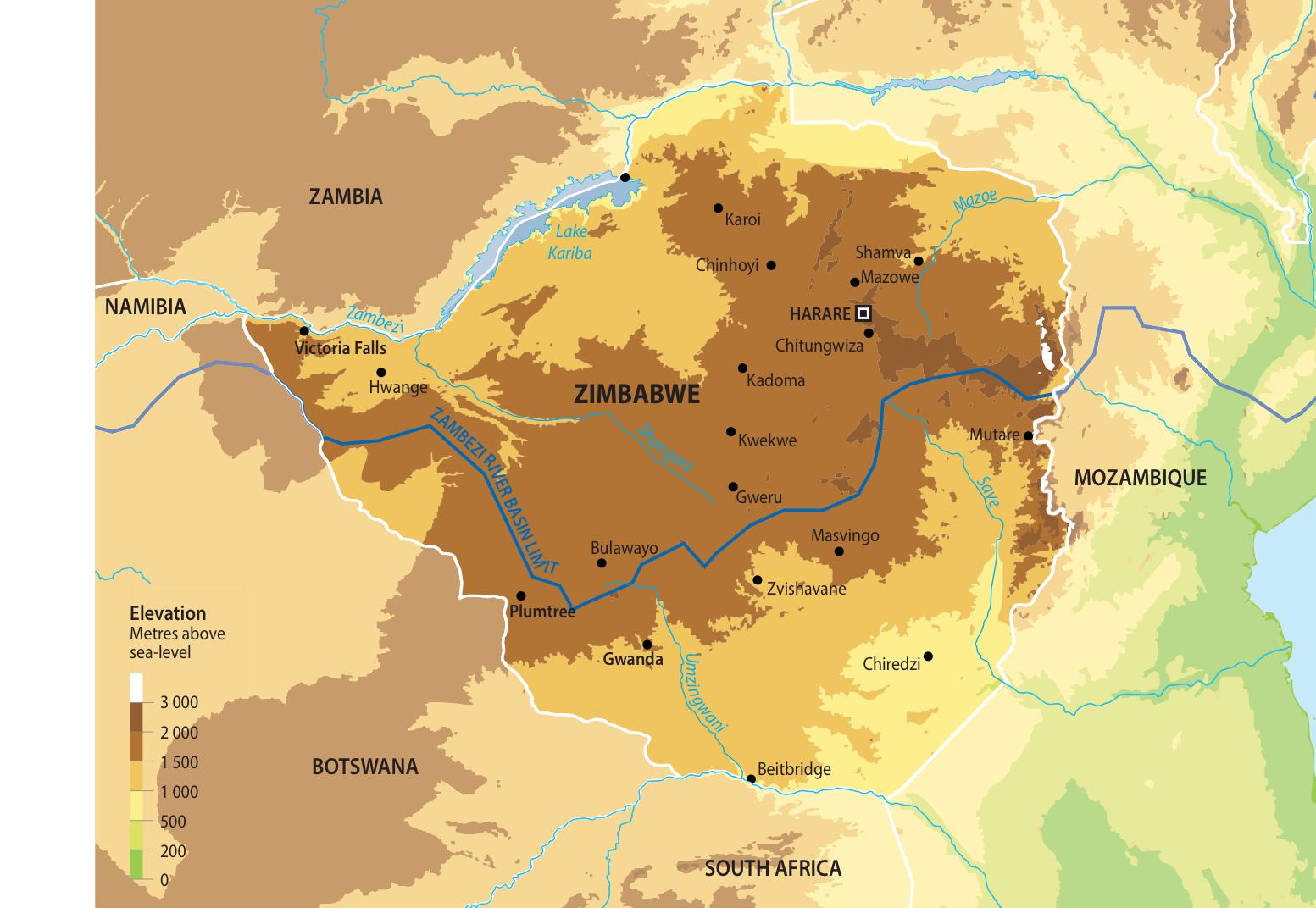Population Density Map Zimbabwe.Map Of Zimbabwe Grid Arendal