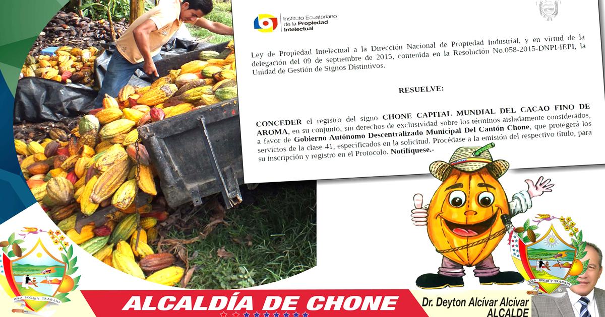 Ley de Propiedad Intelectual acepta el signo de Chone Capital Mundial del Cacao Fino de Aroma