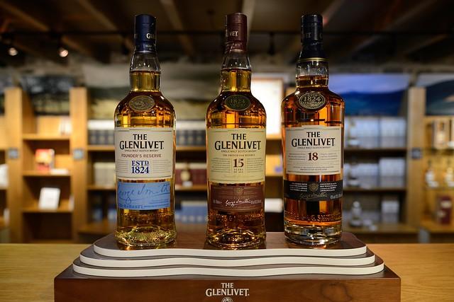 224-20160726_The Glenlivet Distillery-Banffshire-Visitor Centre-display of bottles of Glenlivet malt whiskies