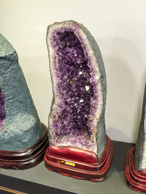 Amethyst gem stone on display.