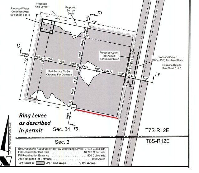 Plat of approved exploration drill pad in wetlands.  Red line shows where Helis said it would build a ring levee.